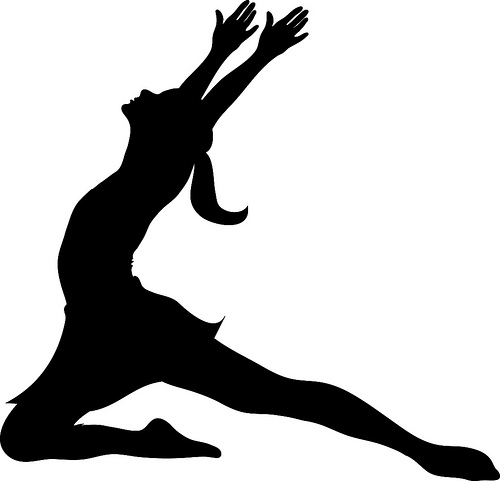 Clip art illustration of a silhouette of a ballet dancer lunging during practice.