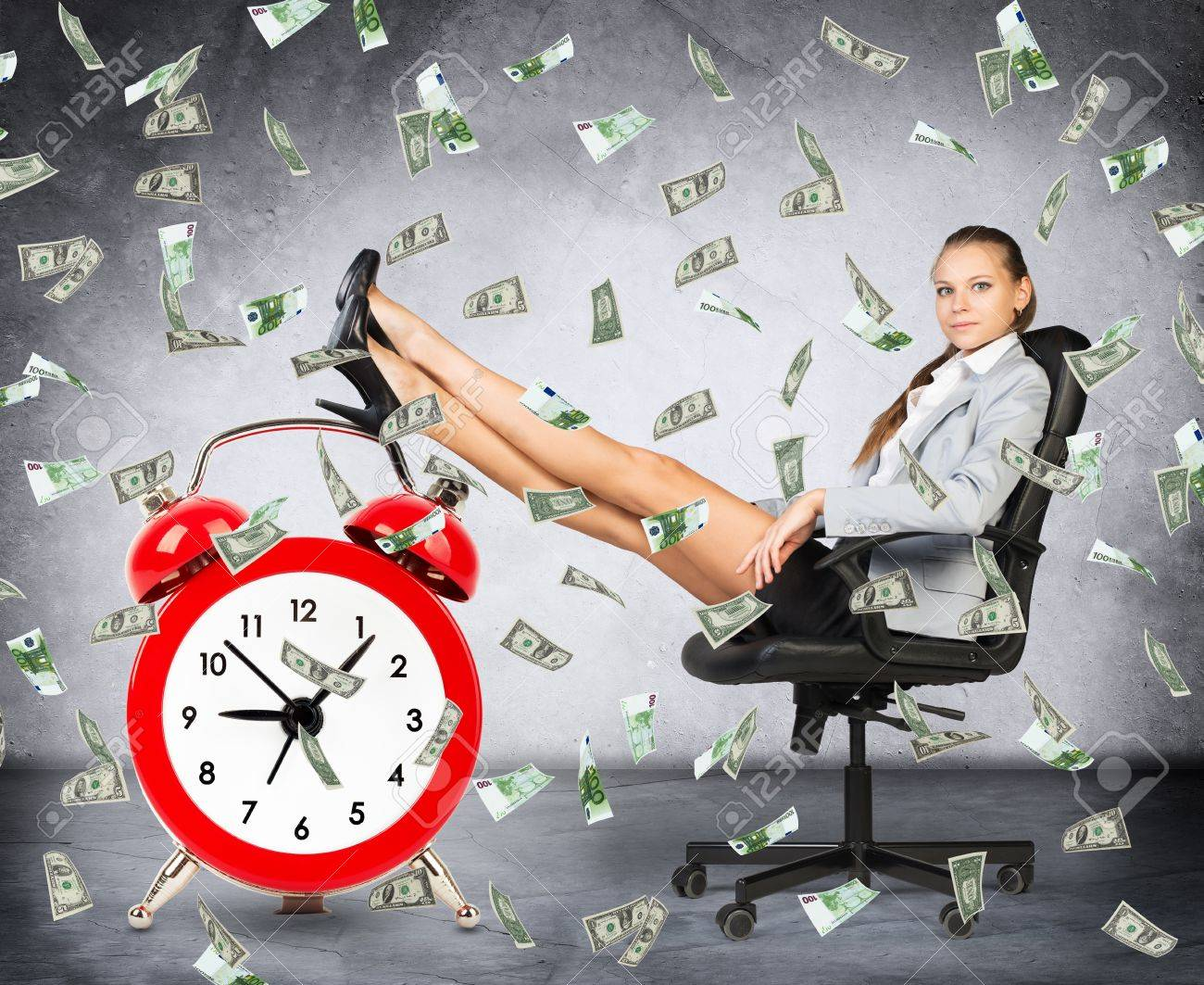 Time is money concept with businesswoman