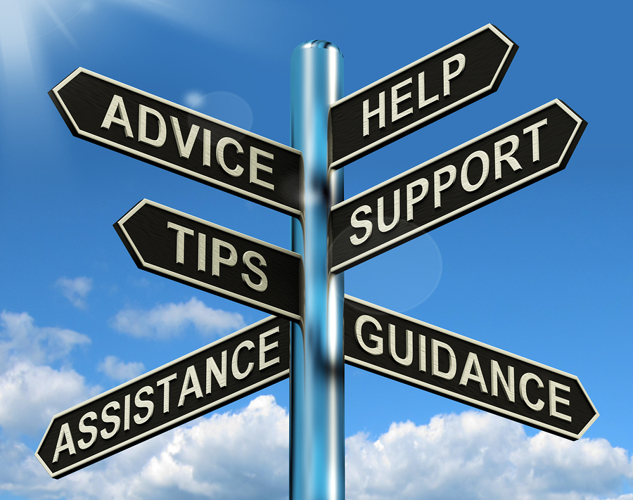 Advice Help Support And Tips Signpost Showing Information And Gu